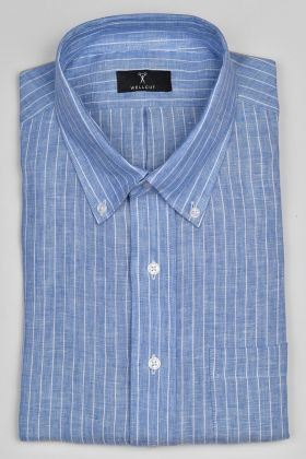 The Liam, Blue Linen Stripe