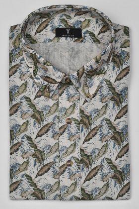The Aiden, Green Print Shirt